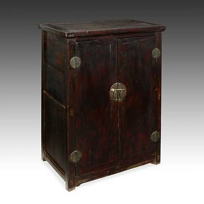... Rare Antique Chinese Qing Lacquered Elm Wood Altar Cabinet 19Th C