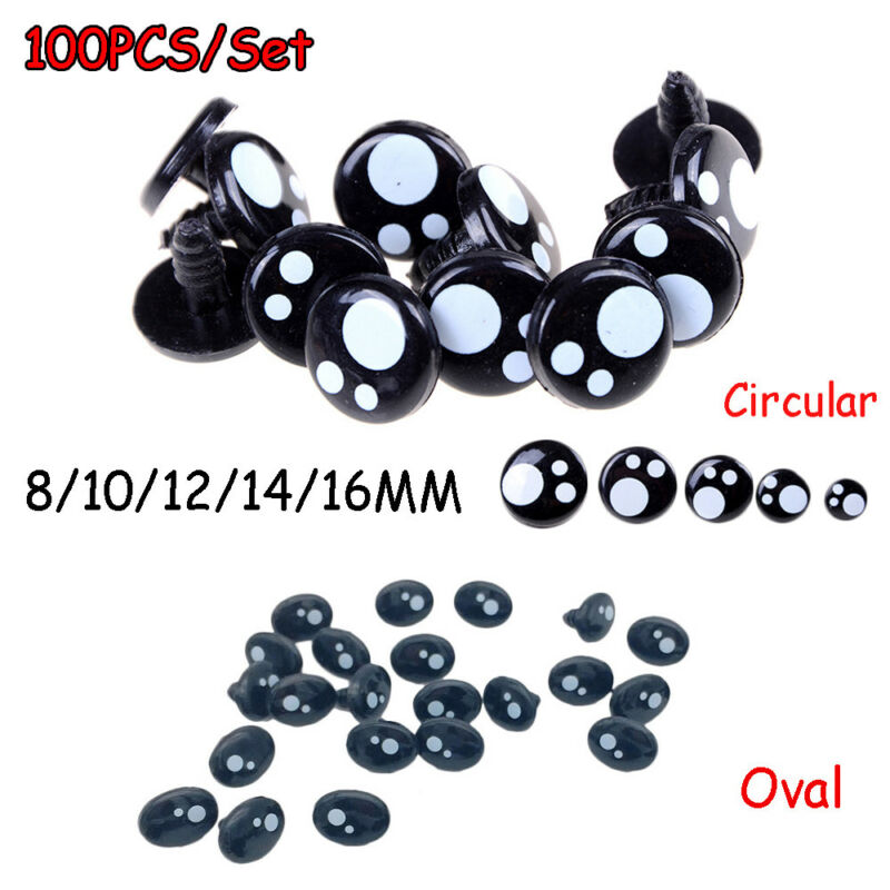 100Pcs 8/12/16 mm Plastic Safety Eye Nose for Teddy Bear Doll Animal Toy Craft-- 3
