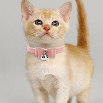 Small Pet Dog Cat Collar Leather Bow Tie With Bell Puppy Kitten Necktie Collar 6