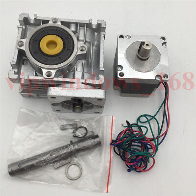 Nema23 Stepper Motor 11Nm Worm Gearbox 10:1 Speed Reducer Kit CNC Router Milling 10
