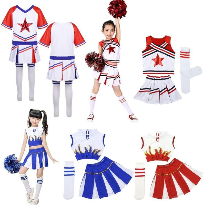 Children Girls Modern Jazz Dance Gym Outfit Cheerleader Carnival Party Show Wear 4