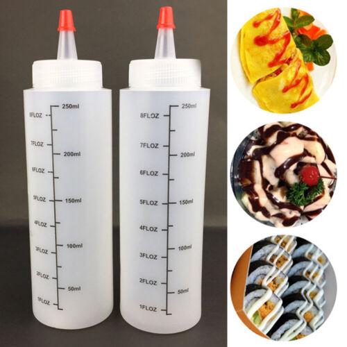 5x 250ml Plastic Clear Squeeze Squeezy Restaurant Sauce Bottle Dispenser Durable 3
