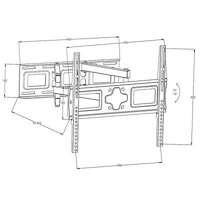 """Support TV mural orientable et inclinable 26""""-55"""" 66-138cm 32 40 42 46 50 52 55 4"""