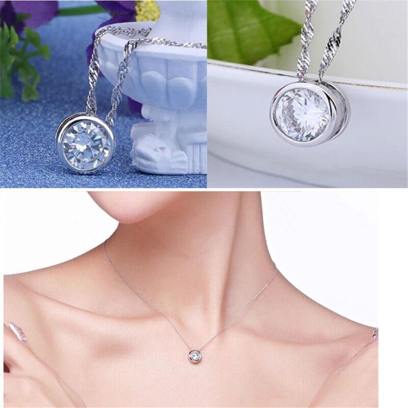 Fashion Women Round Single Crystal Rhinestone Silver Pendant Necklace Jewelry 5