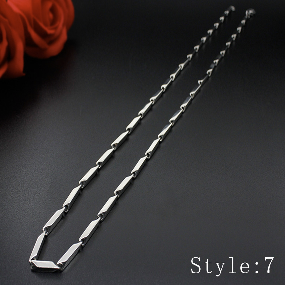 Gift Man Women Fashion 316L Stainless Steel 2mm-5mm Silver Chain Necklace 8