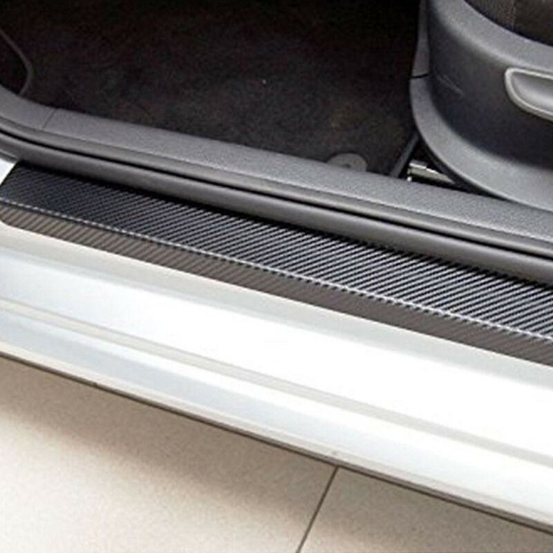4Pcs 3D Carbon Fiber Black Car Door Sill Scuff Plate Cover Anti Scratch Sticker 7