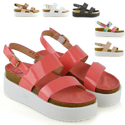 Womens Low Heel Platform Wedge Sandals Ladies Casual Strappy Flat Chunky Shoes Size 3-8