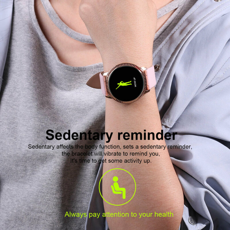 Waterproof Smart Watch Fitness Tracker Blood Pressure Heart Rate Tempered Mirror 6