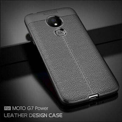 Moto G7 Power TPU Leather Case Cover Tempered Glass Screen Protector Slim Skin 9