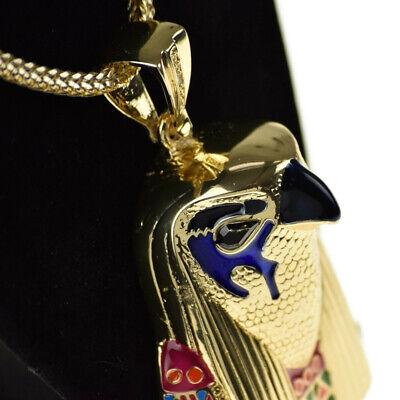 "Horus Falcon Egyptian Bird God Hip Hop Chain Gold Finish 36"" Franco Necklace 3"