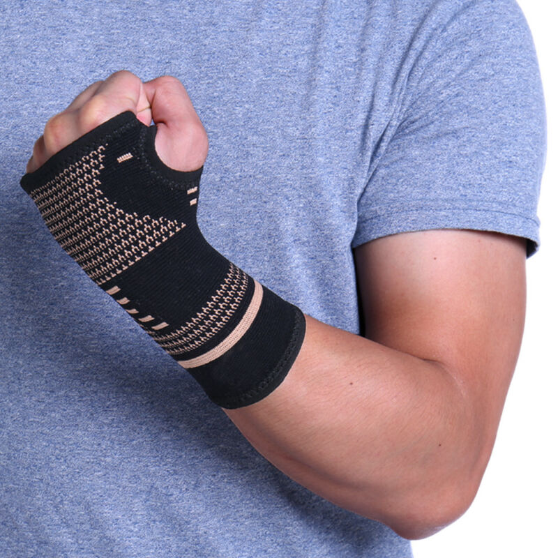 Copper Wrist Brace Compression Gloves Carpal Tunnel Support Hand Arthritis RSI 4