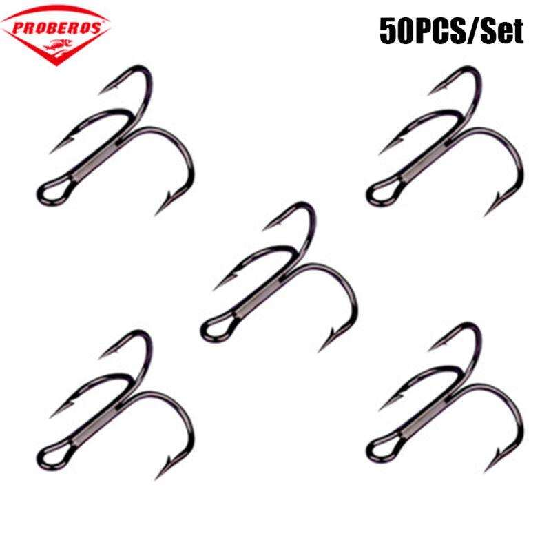 Lot 50pcs Fishing Hook Sharpened Treble Hooks 7 Size 2/4/6/8/10/12/14 Fishhook 3
