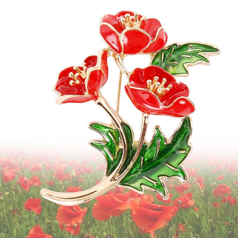 Flower Poppy Vintage Brooch Pin Red Crystal Flower Badge Pins
