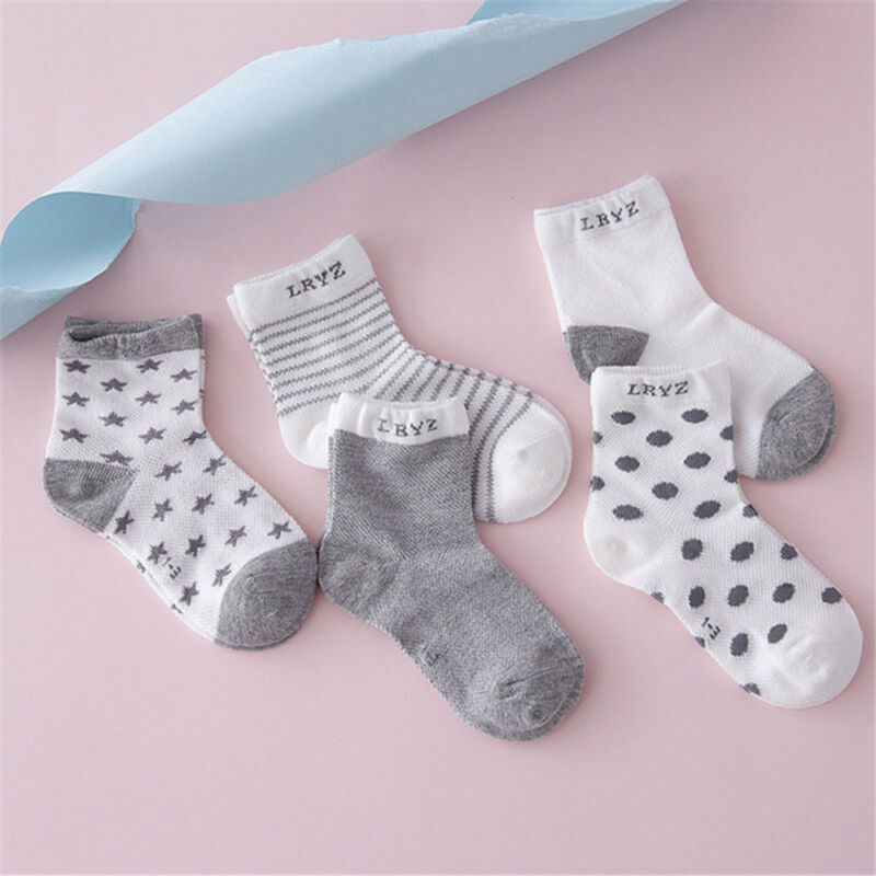 5 Pairs Baby Boy Girl Cotton Cartoon Socks NewBorn Infant Toddler Kids Soft Sock 5