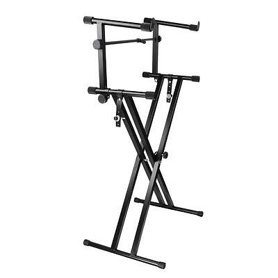 X Style Pro Dual Music Keyboard Stand Electronic Piano Double 2-Tier Adjustable 2