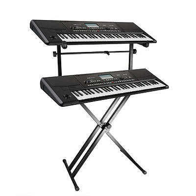 X Style Pro Dual Music Keyboard Stand Electronic Piano Double 2-Tier Adjustable 7