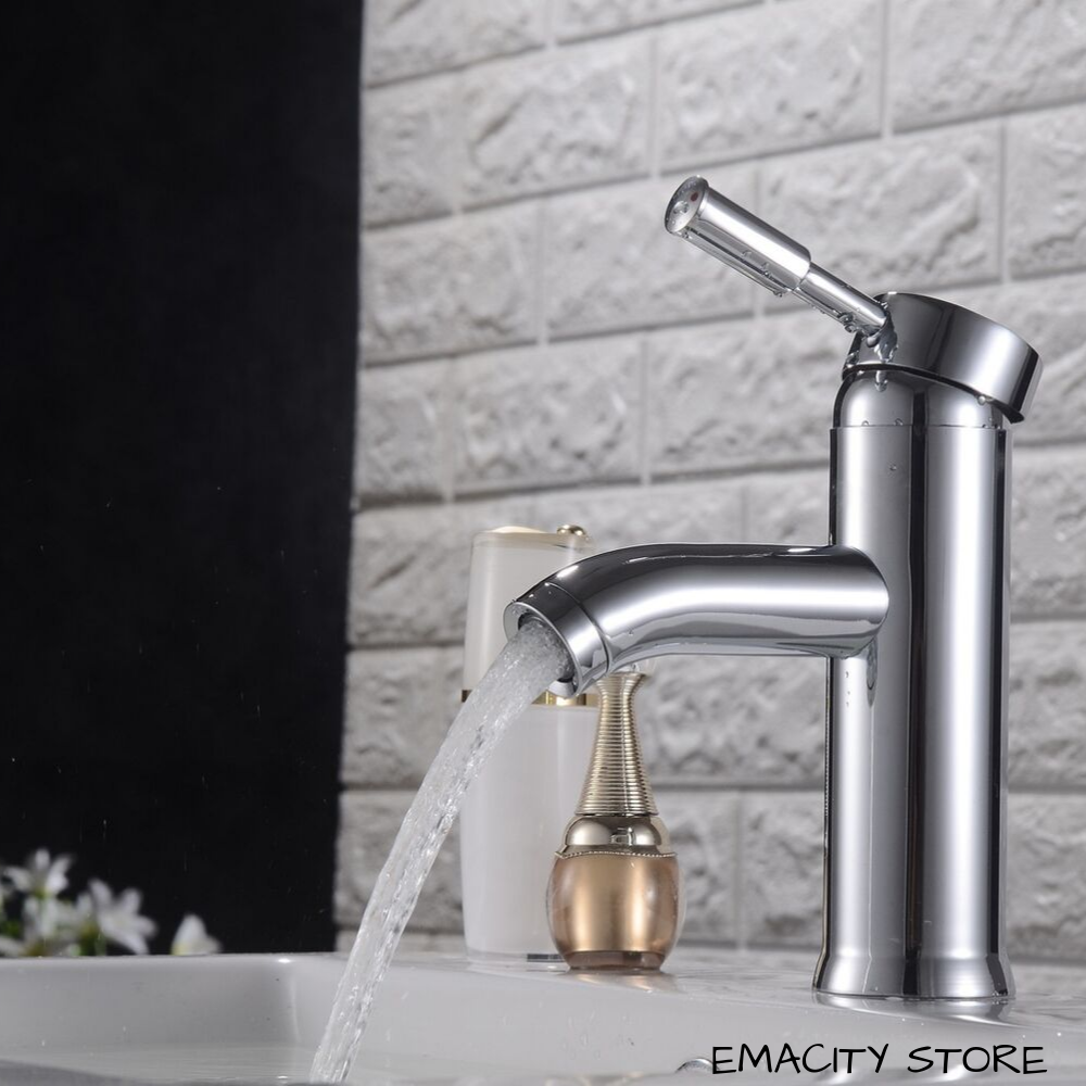 Bathroom Basin Taps Tap Sink Mixer Waterfall Chrome Single Lever Flexi Pipes