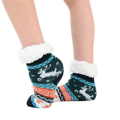 Childrens Kids Slipper Socks 1 Pair Fairisle Reindeer Multi Colours Size UK 9-12