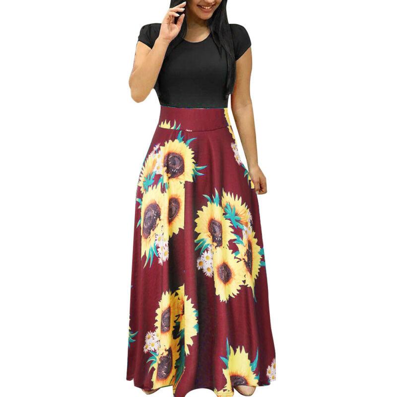 Women Summer Boho Long Maxi Dress Evening Cocktail Party Beach Dresses Sundress 2