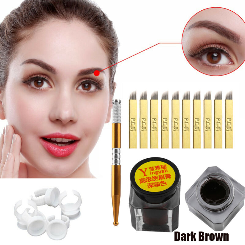 One Set Microblading Permanent 3D Makeup Eyebrow Tattoo Needle Pen Pigment Kit~ 2