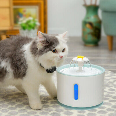 LED USB Automatic Electric Pet Water Fountain Cat/Dog Drinking Dispenser 2.4L 6