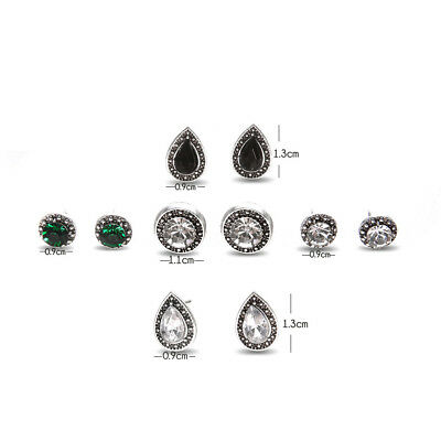 5 Pairs Bohemian Crystal Stud Earrings Cubic Zirconia Water Drop Earring Jewelr 2