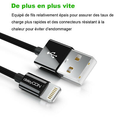 LOT3 CABLE CHARGEUR USB IPHONE X 8 7 6S 6 PLUS 5 SE XR XS MAX Rapide 2 Mètre 5