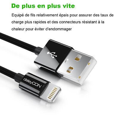 LOT3 CABLE USB CHARGEUR POUR IPHONE X 8 7 6S 6 PLUS 5 SE XR XS MAX Rapide 2Mètre 5