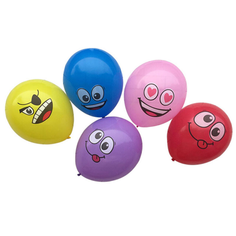 10pcs Latex Balloons Printed Big Eyes Smiley Happy Birthday Party Decoration 3