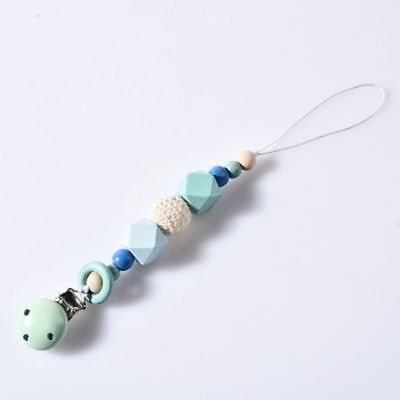 Wooden Bead Holder Soother Silicone Pacifier Clip Teethin For Baby Chew Dummy hi 7