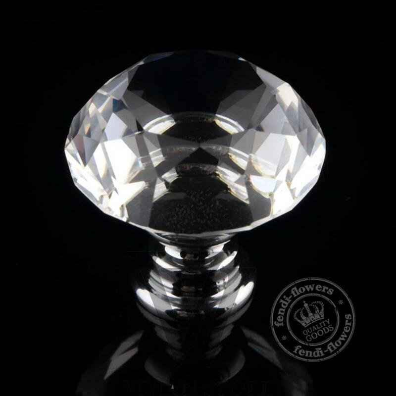 Cristal Diamant Rond Armoire à Facettes Coupe Verre Poignée Porte Placard