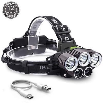 90000Lm 5X Xm-L T6 Led Headlamp Head Light Head Torch Flashlight Camping Lamp 3