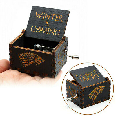 """""""Game of Thrones"""" Music Box Carved Wooden Hand Crank Handmade Xmas Kids Gift 5"""