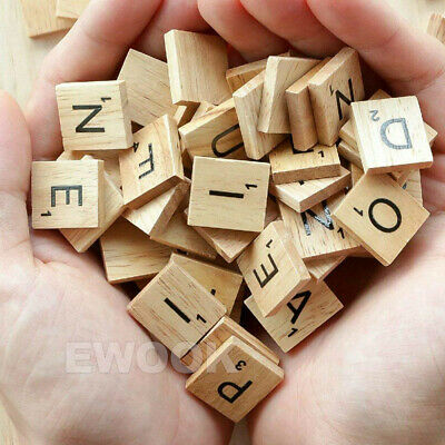 200PCS Wooden Alphabet Scrabble Tiles Black Letters & Numbers For Crafts Wood 2