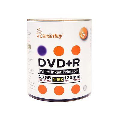 100 Pack Smartbuy 16X DVD+R 4.7GB White Inkjet Hub Printable Blank Record Disc