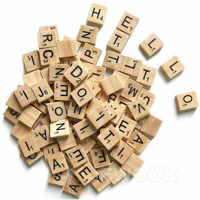 200PCS Wooden Alphabet Scrabble Tiles Black Letters & Numbers For Crafts Wood 7