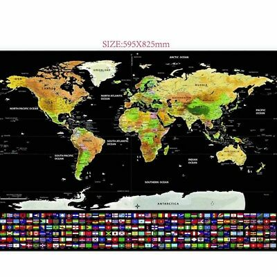 Scratch Off Map of the World Poster Wallpaper Personalized Travel Log #M2R 6