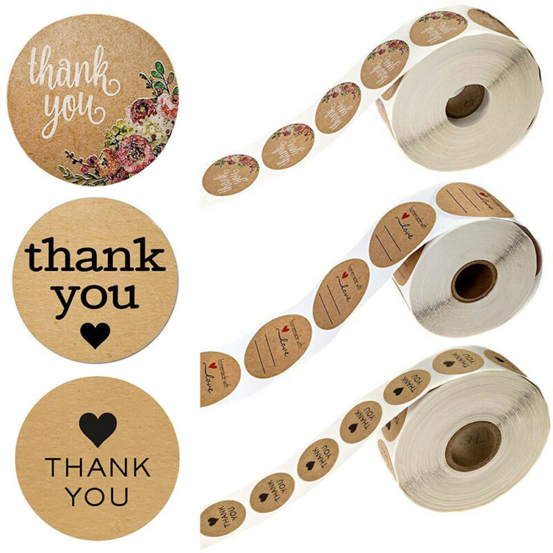 500Pcs/Roll Thank You Kraft Stickers Package Label Sealing Tag Party Supplies 4