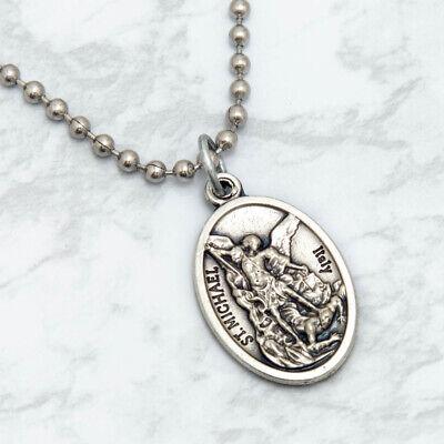 "Patron Saint St Michael The Archangel 1"" Medal Pendant Necklace 24"" Chain Italy 3"