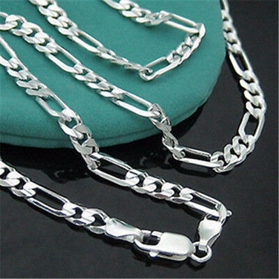 """2mm Women Men 16-30"""" Stainless Steel Figaro Link Curb Chain Necklace Jewelry 4"""
