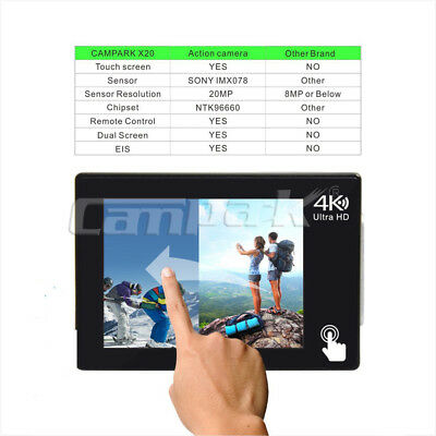 Campark X20 Action Sport Kamera Touchscreen WiFi HD 4K 20MP Wasserdicht Dual LCD 4
