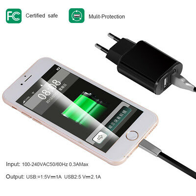 5V 2A EU Dual USB 2-Port Fast Charger Mobile Phone Wall Power Adapter For iPhone 6