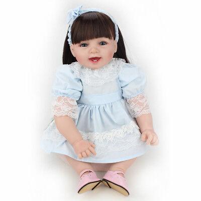 "22"" Reborn Baby Doll Girl Soft Vinyl Handmade Newborn Long Wig Xmas Gift Dolls 4"