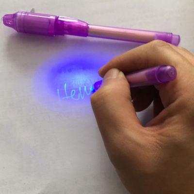 2Pcs Magic 2 in 1 Invisible Ink Pen With UV Light Magic Secret Message LED Pen