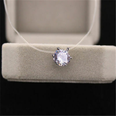 Fashion Crystal Necklace Invisible Line Zircon Clavicle Chain Women Accessories 9