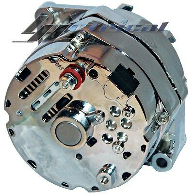 NEW ALTERNATOR CHROME GM,CHEVY,HOT ROD 12 Clock Plug Position HIGH OUTPUT 110AMP