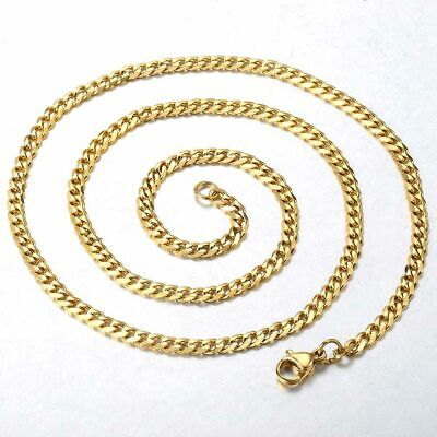 """18""""-36"""" Stainless Steel Gold Tone Chain Cuban Curb Mens Necklace 3/5/7/9/11mm 7"""