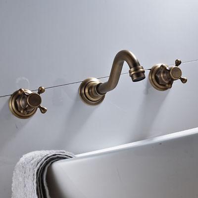 3Pcs Antique Brass Bathroom Basin Faucet Vanity Sink Faucet Mixer Tap Wall-mount 7