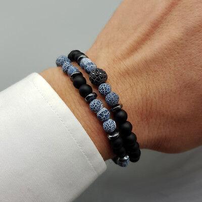 Bracciale uomo pietre set braccialetti in pietra agata con onice nero da blu 3