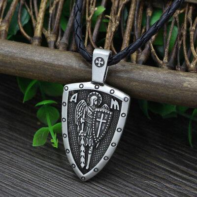 Archangel Saint St Michael Protect Us Medal Cross Shield Amulet Pendant Necklace 3